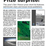 EL Gazette article on the 2008 Ben Warren Prize nominees